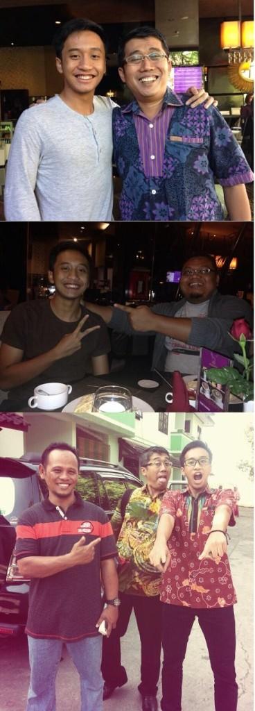 Keterangan foto (dari atas ke bawah): Bersama Asa di Bandung. Asa dan mas Saptuari. Asa dan mas Kusnadi bersama bapaknya yang ganteng.