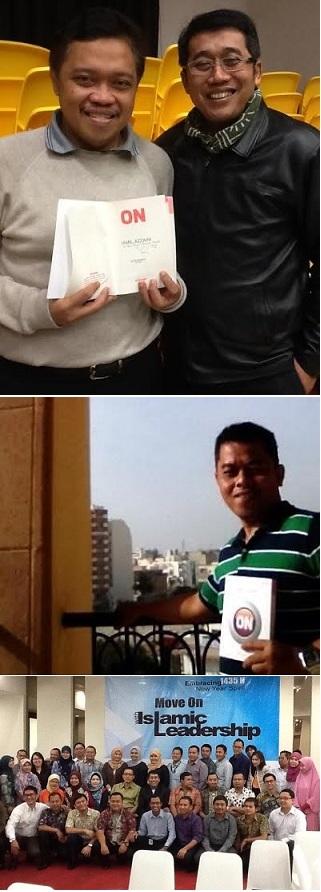 Keterangan foto (dari atas ke bawah): Buku ON dibedah di Hongkong. Buku ON dibaca di Tunisia. Buku ON dibedah di Bank Permata Syariah.