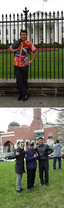 Keterangan foto: Di depan White House (atas). Mampir di Islamic Center Boston