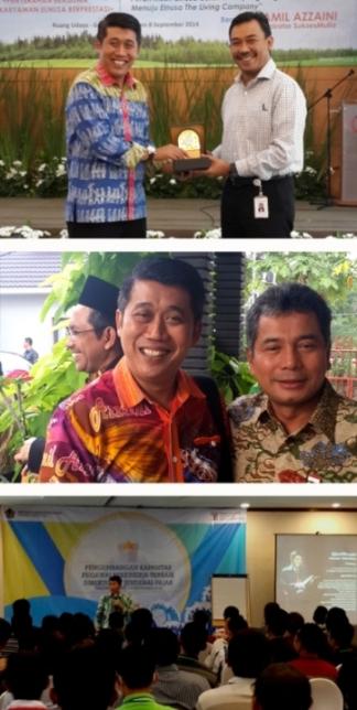 atas-bawah: (1). Bersama Direktur Utama Elnusa usai Seminar (2). Bersama bapak Sunarso, Direksi Bank Mandiri sebelum tampil dihadapan 500 santri lebih di Pontianak (3). Bersama 104 pegawai terbaik Dirjen Pajak di Tanjung Lesung