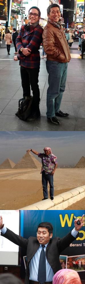 (1) Jamil Azzaini berpose bersama mas Yana Yulio di New York  (2) Jamil Azzaini di depan Piramida saat diundang seminar di Kairo Mesir (3) Jamil Azzaini Sesi di Wanna Be Trainer AkademiTrainer