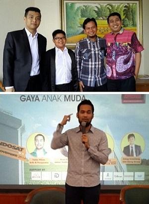 Fuza Aulia Barisila, Wilson Tirta, Elang Gumilang, saya (atas). Teuku Wisnu berbagi ilmu bisnis.