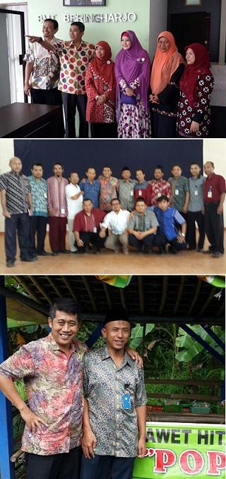 Mursida Rambe diapit saya dan Peggy Melati Sukma (atas). Bersama para pimpinan BMT Bina Masyarakat Purworejo. Saya dan Karsiwi (bawah).