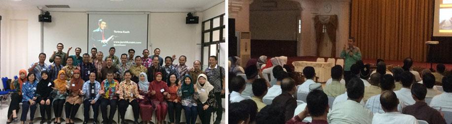 (1) Jamil Azzaini memberikan Seminar di Pegadaian Jakarta (2) Jamil Azzaini memberikan Training satu hari di di Kementerian Keuangan RI