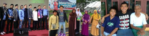 Saya bersama Ust. YM dan pembicara lain dalam acara Panggung Inspirasi di Jakarta (kiri). Tiba di Lampung, siap berlebaran bersama orang tua dan keluarga. Tiga generasi: Fikar, saya dan Bapak.