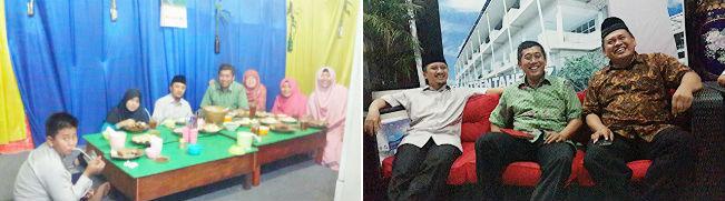 Dijamu makan malam oleh Ustadz Yusuf Mansyur dan istri (kiri). Bersenda gurau dan diskusi di Asrama Pesantren Darul Quran.