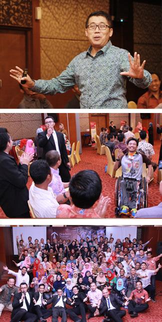 dari atas ke bawah: Jamil Azzaini tampil dalam satu sesi di Wanna Be Trainer batch 17; Salah satu peserta meski penyandang disabilitas tapi semangatnya luar biasa; Aksi semua peserta dalam  salah satu foto.