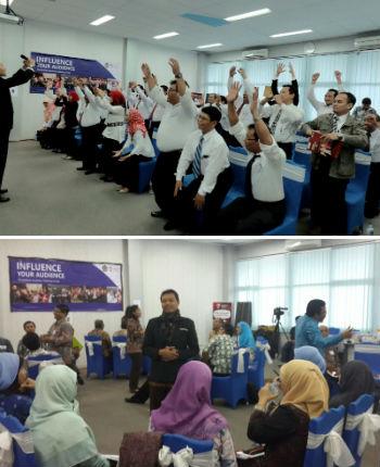 "Para peserta training ""Influence Your Audience"", para widyaiswara BPPK Kemenkeu, sedang praktik dan berlatih."
