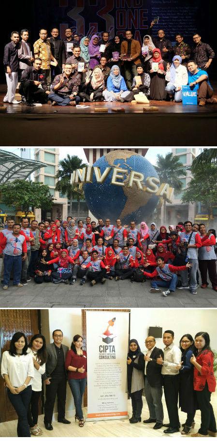 Saya, bersama 33 Mentee saya di TEMPA, Trainer Mentoring Program (atas), tim Kubik Group dan tim Cipta (bawah).